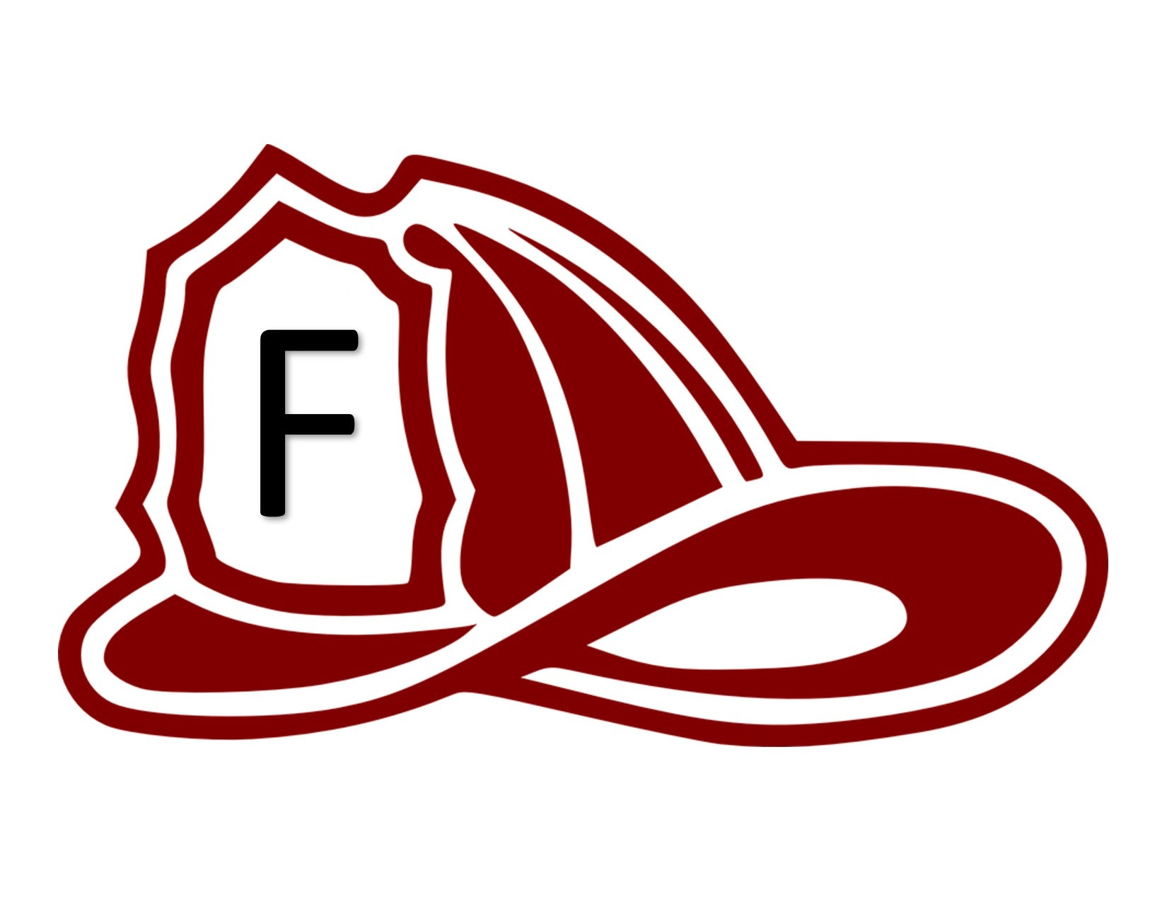 Fire helmet outline with an F on the front