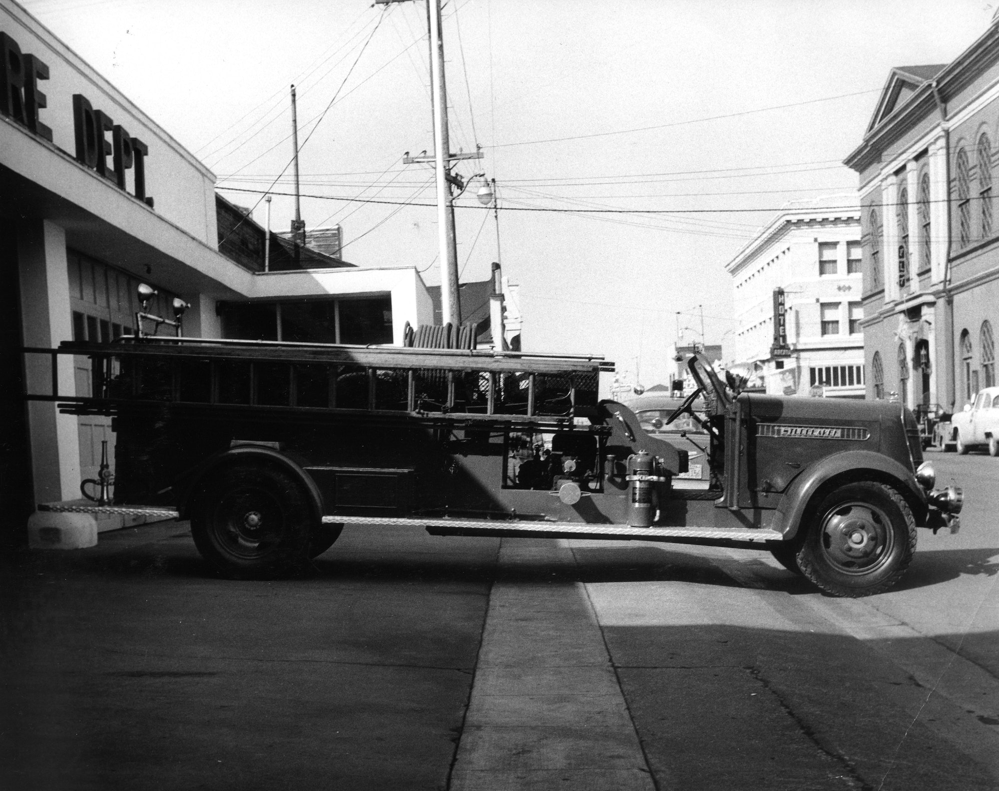 Photo of vintage engine in front of Arcata Station