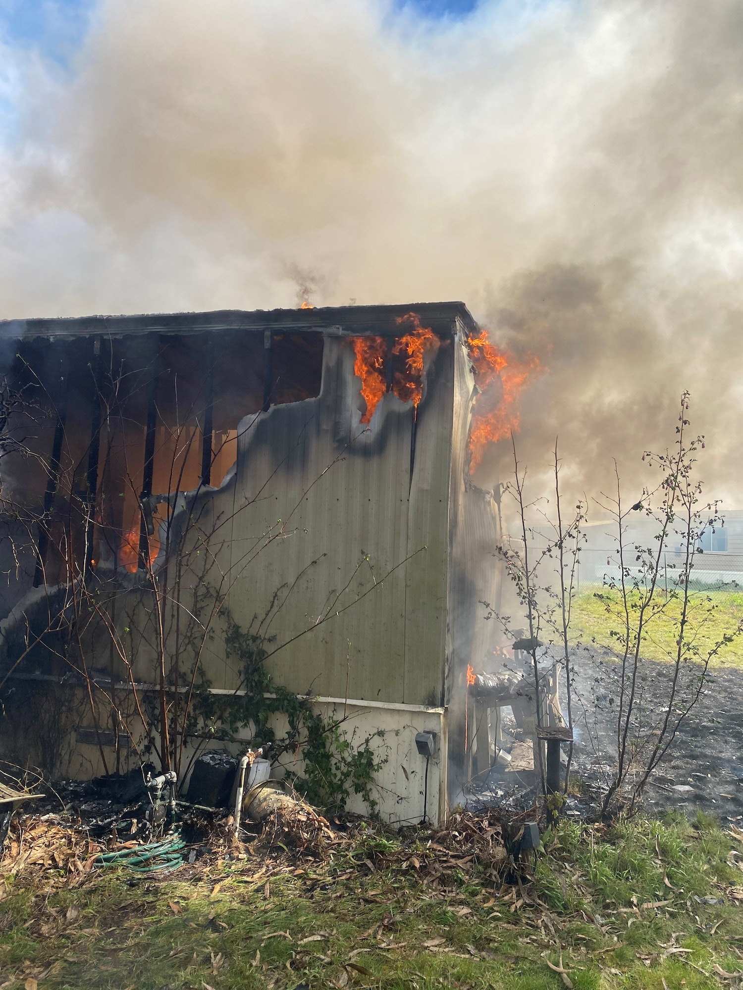 Burnging mobile home