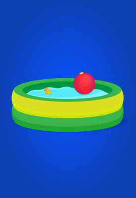 may contain: kiddie pool, water, red ball, and toy