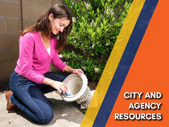 May contain: person, human, garden, and outdoors, text that reads city and agency resources