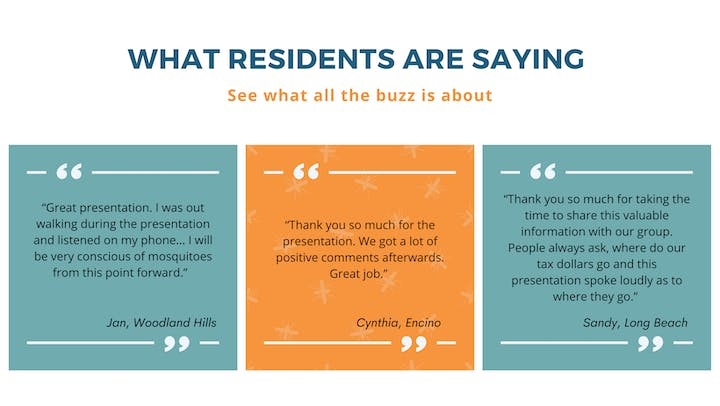 Residents' feedback on the Mosquito Watch presentations