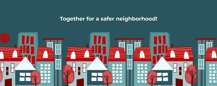 May contain: neighborhood, homes, text, trees, windows