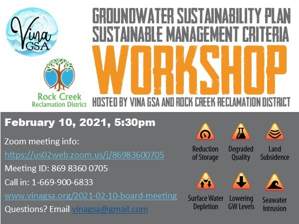 Workshop flyer for groundwater sustainability plan on February 10, 2021 at 5:30 pm.
