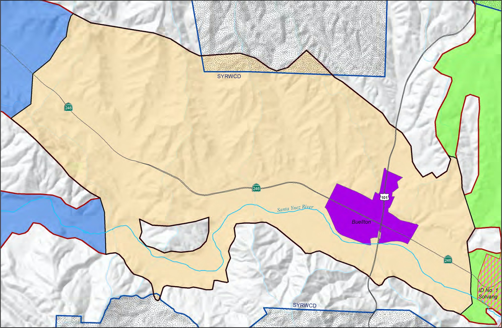 Map of the Central Management Area of the Santa Ynez River Valley Groundwater Basin