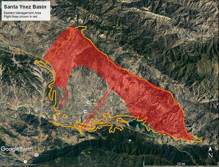 May contain: map of Santa Ynez Basin, EMA Area, flight lines