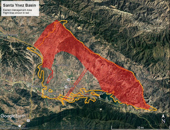 May contain: map of Santa Ynez Basin, EMA Area, flight lines