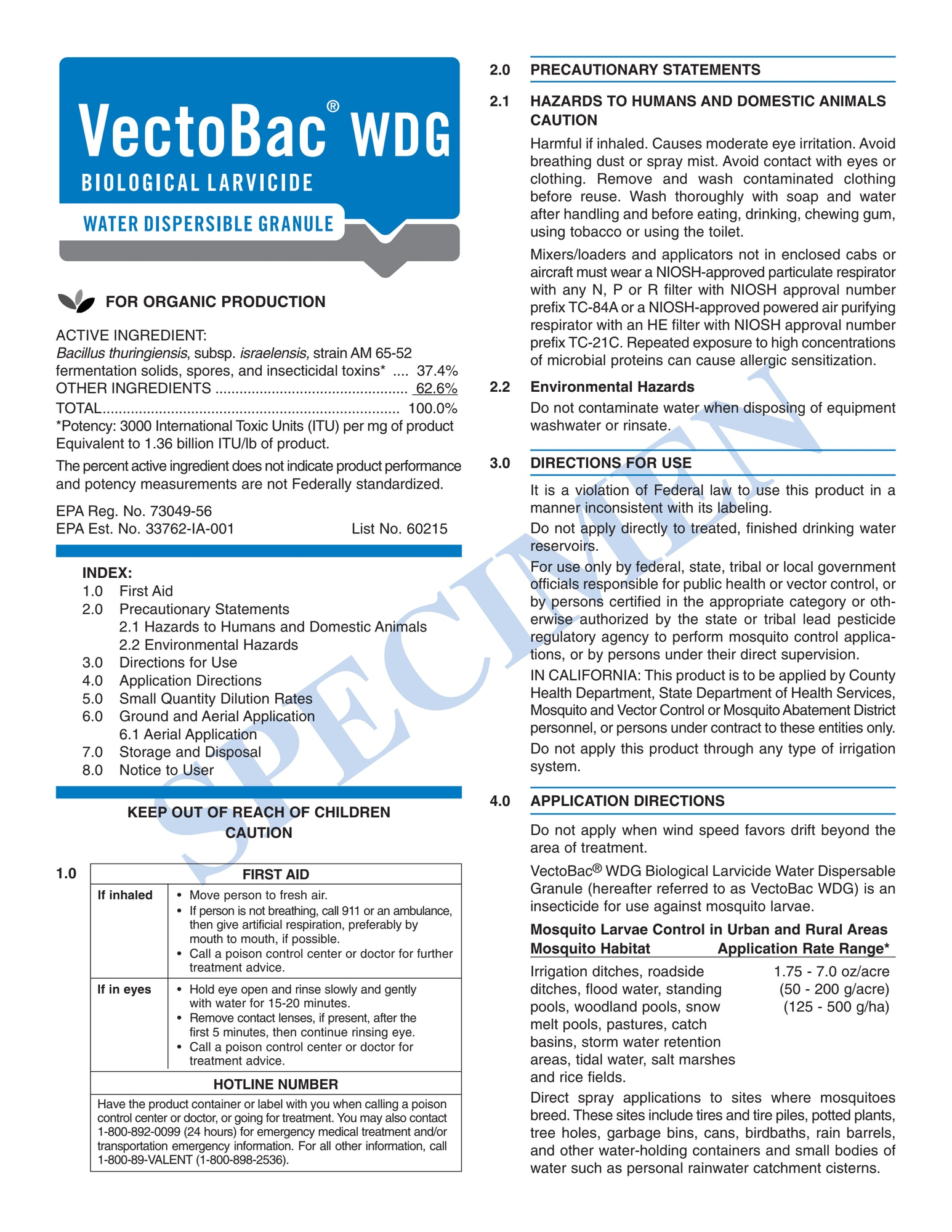 VectoBac WDG Label