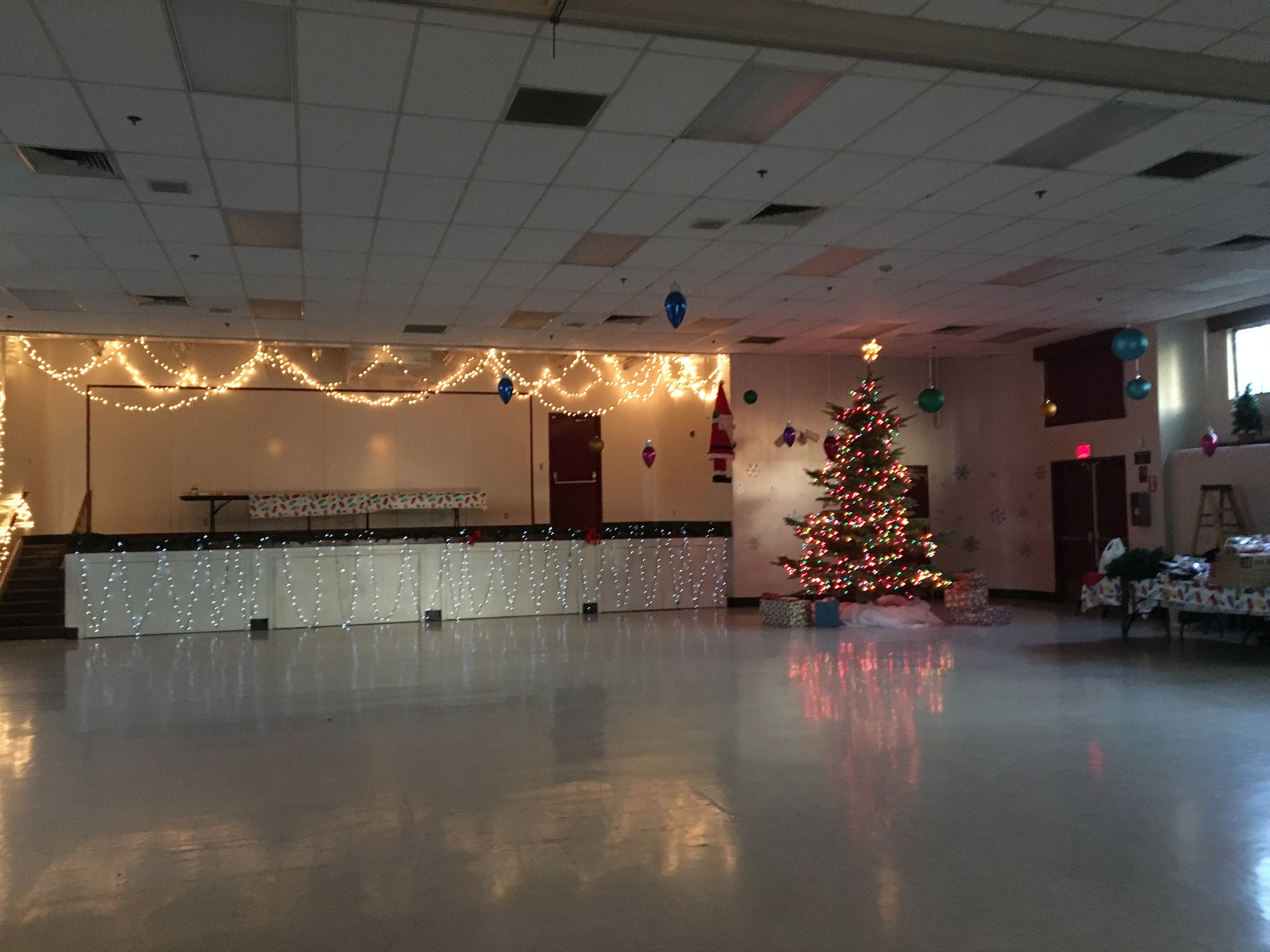 Holiday Lights inside of the Kay F. Dahill Community Center