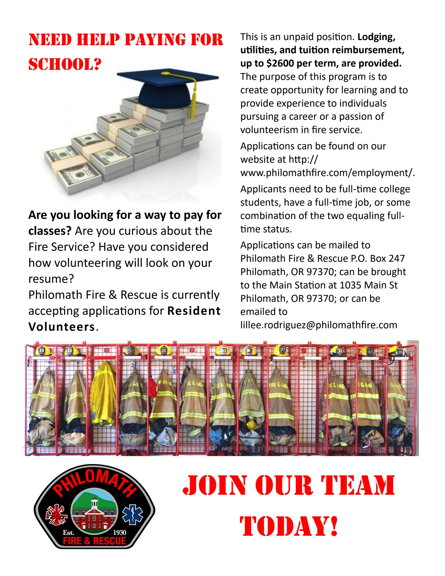 Flyer for Resident Volunteer tuition reimbursement program