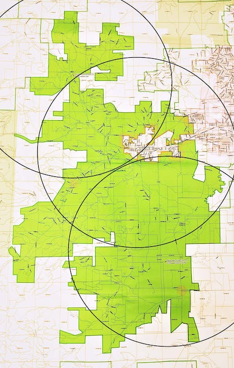 Map of the Fire District overlayed with 5 mile radius circles