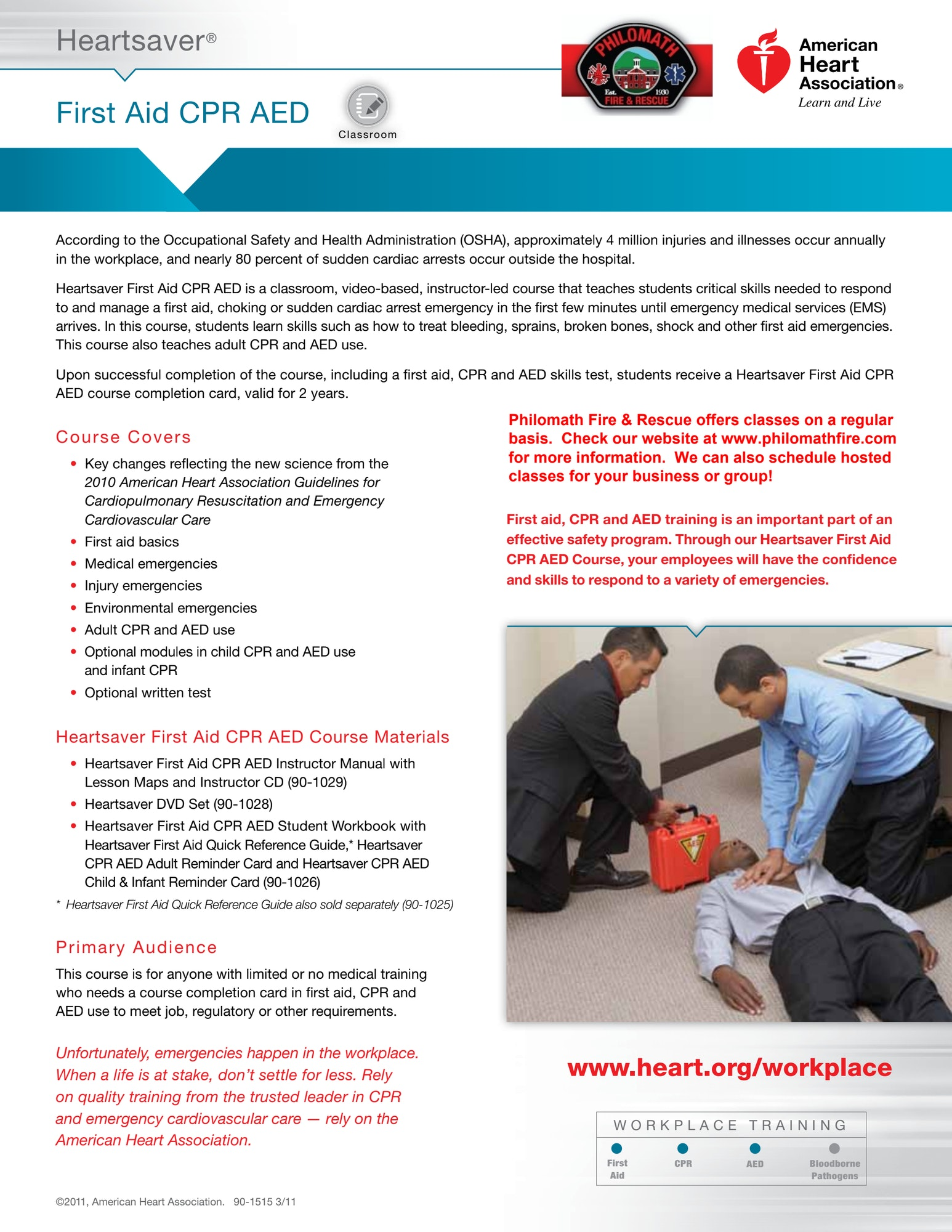 Information about First Aid CPR classes