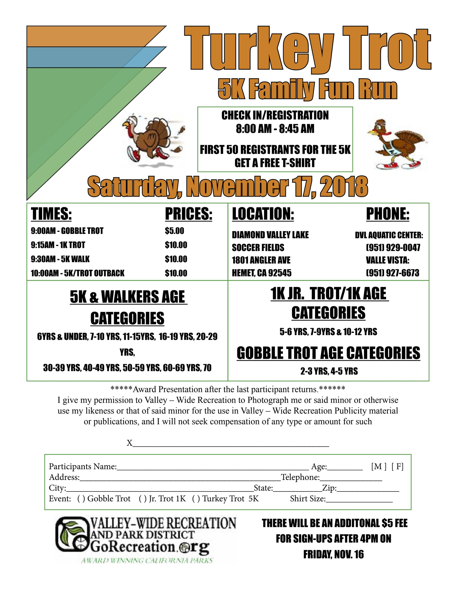 Turkey Trot - Valley-Wide Recreation & Park District