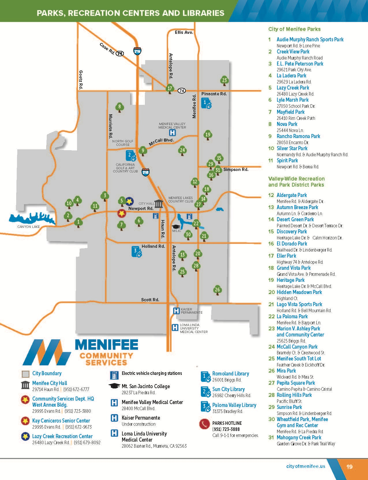 Map that indicates which parks are managed by City of Menifee versus those managed by Valley-Wide Recreation and Park District