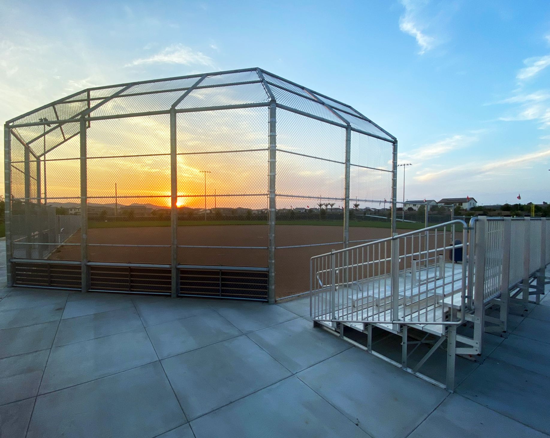 Heritage Ranch ball field, bleachers, sunset