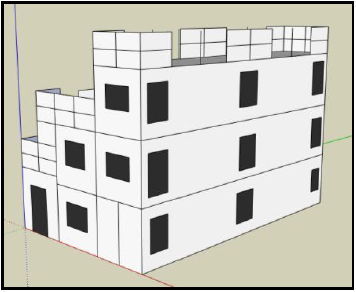 conceptual drawing of fire training building made with conex boxes