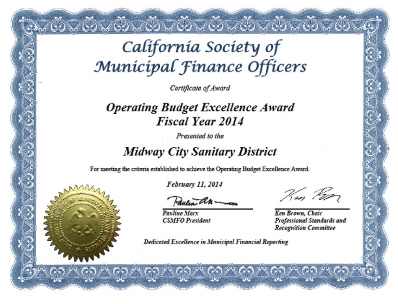 MCSD Excellence Award