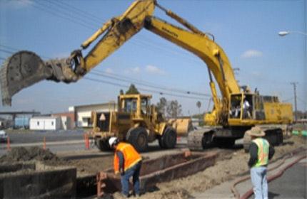 Back hoe, construction crane