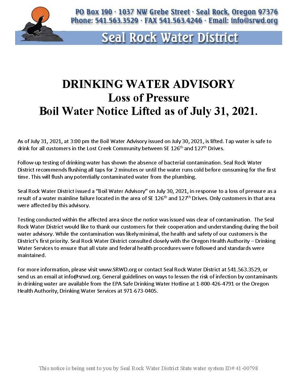 Image of Boil Water Notice Lifted 7/31/2021 for the Lost Creek Area