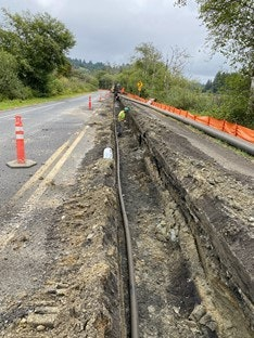 Picture of raw water pipeline trench along Beaver Creek Road