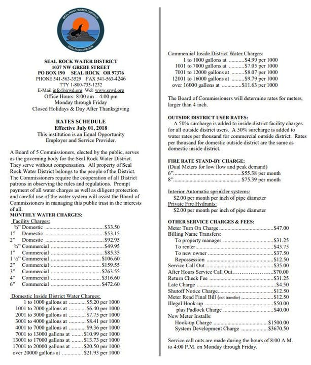 Seal Rock Water District Rate Schedule image