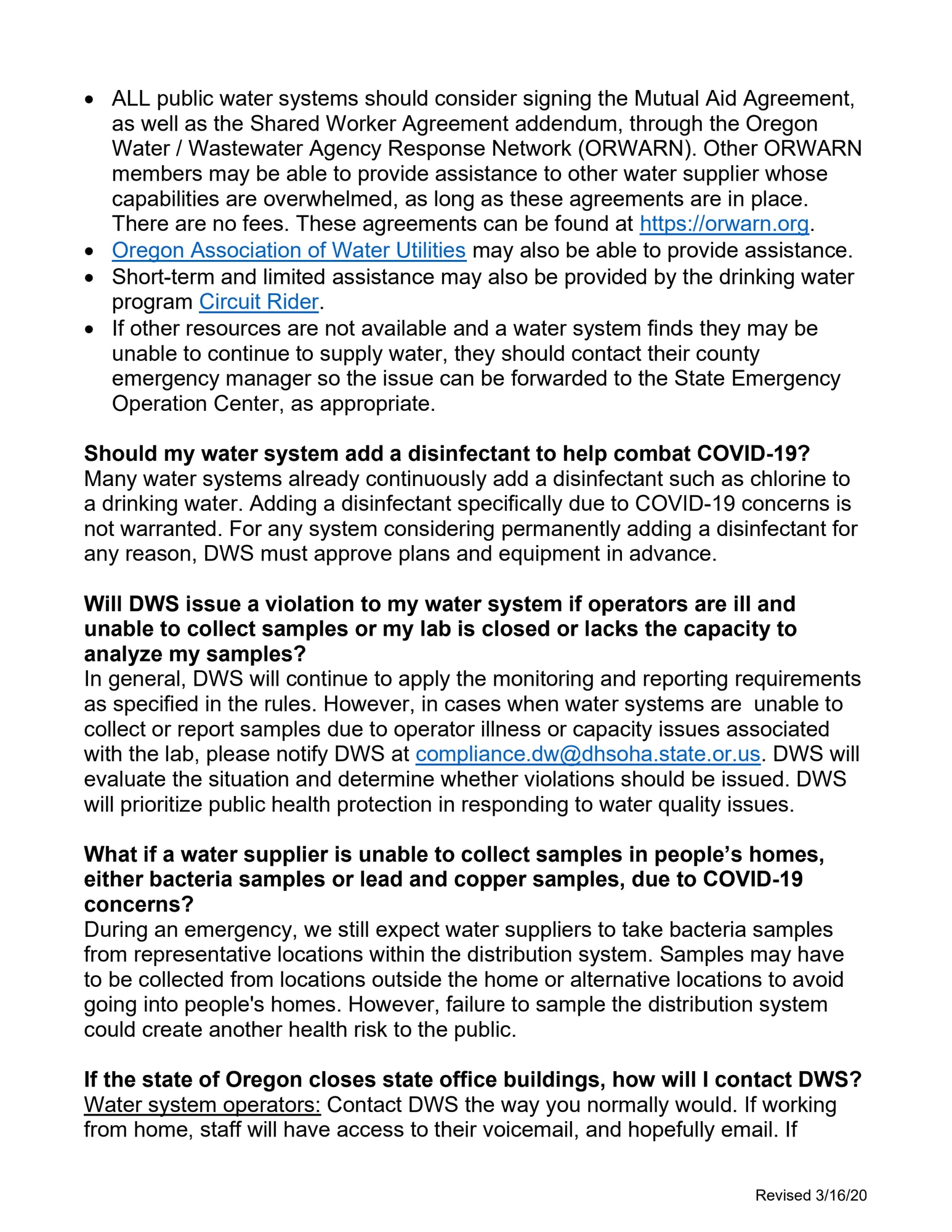 Oregon Health Authority frequently asked questions regarding public water systems and novel corona virus