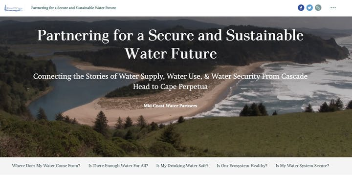 Mid-Coast Water Planning Partnership Head 2 Cape Story Map website screenshot