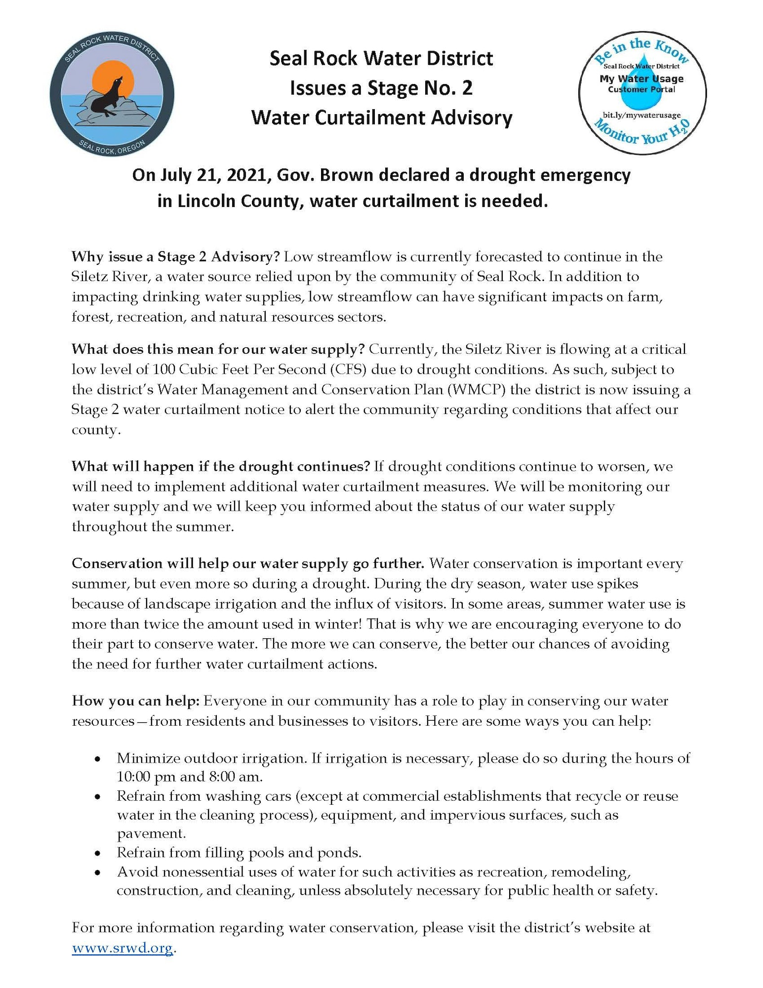 Image of Stage No. 2 Water Curtailment Advisory letter page one