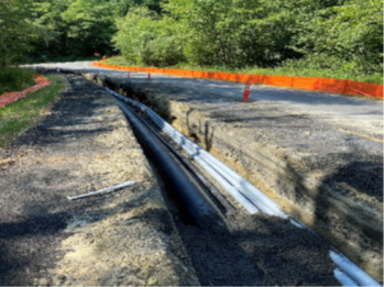Picture of trench for pipe and utilities for Beaver Creek Project