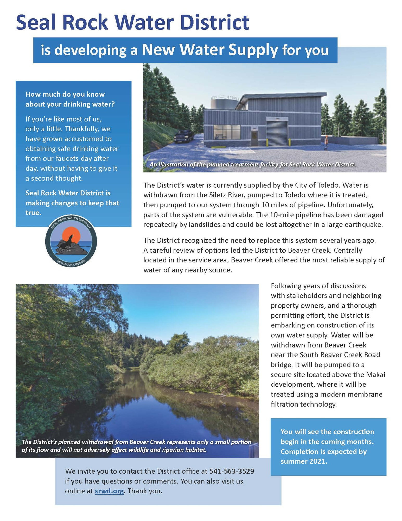 Seal Rock Water District flyer regarding our new water supply project