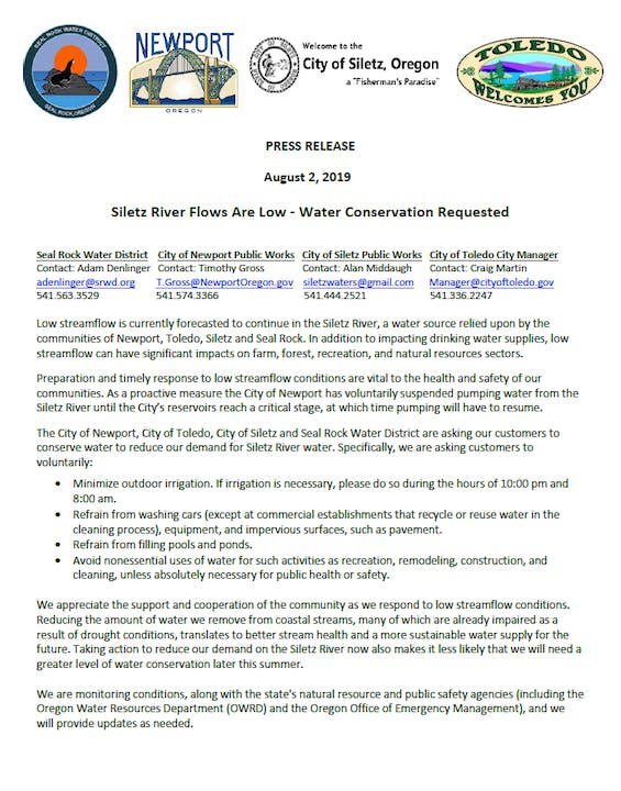 Image of Press Release regarding Siletz River Flows Are Low Water Conservation Requested