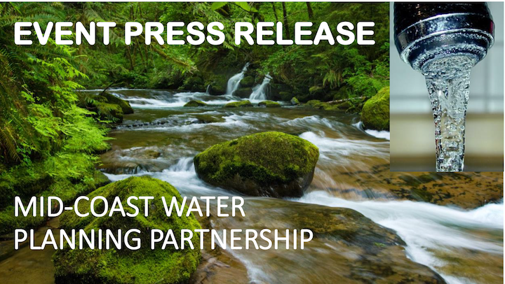 Picture of title page of the event press release for the mid-coast water planning partnership meeting