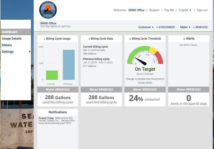 Image of the My Water Usage Portal Dashboard