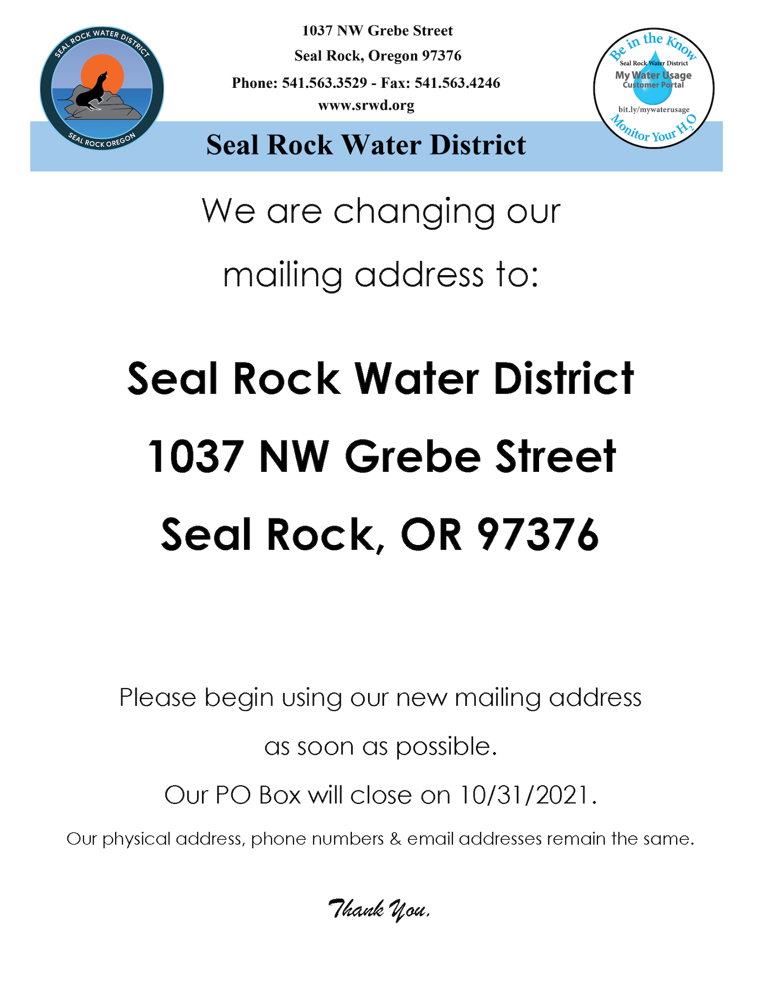 Seal Rock Water District has changed their mailing address flyer