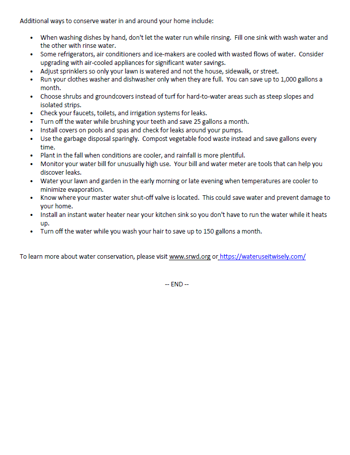 Image of Press Release regarding Siletz River Flows Are Low Water Conservation Requested page 2