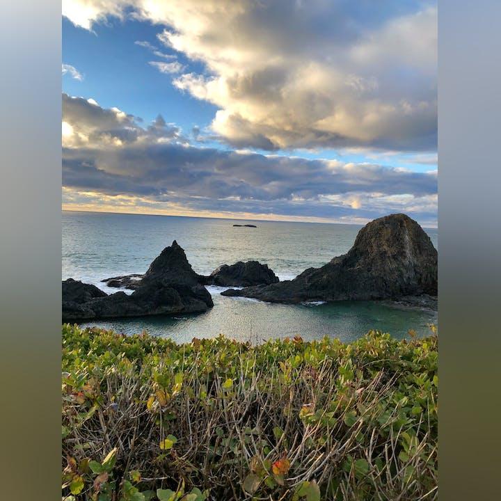 Image of ocean & rocks off the Seal Rock coastline