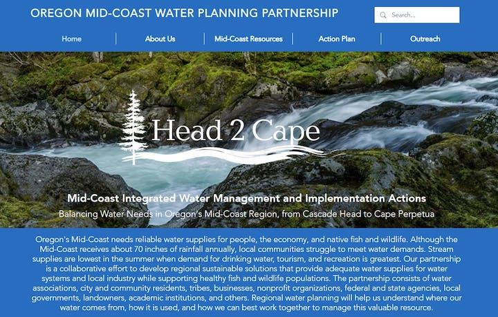 Mid-Coast Water Planning Partnership website screenshot