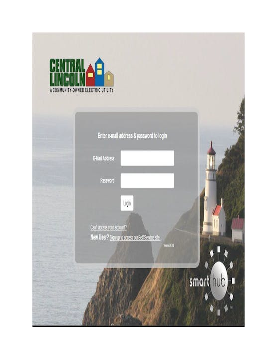 Central Lincoln PUD SmartHub Login Screen Image
