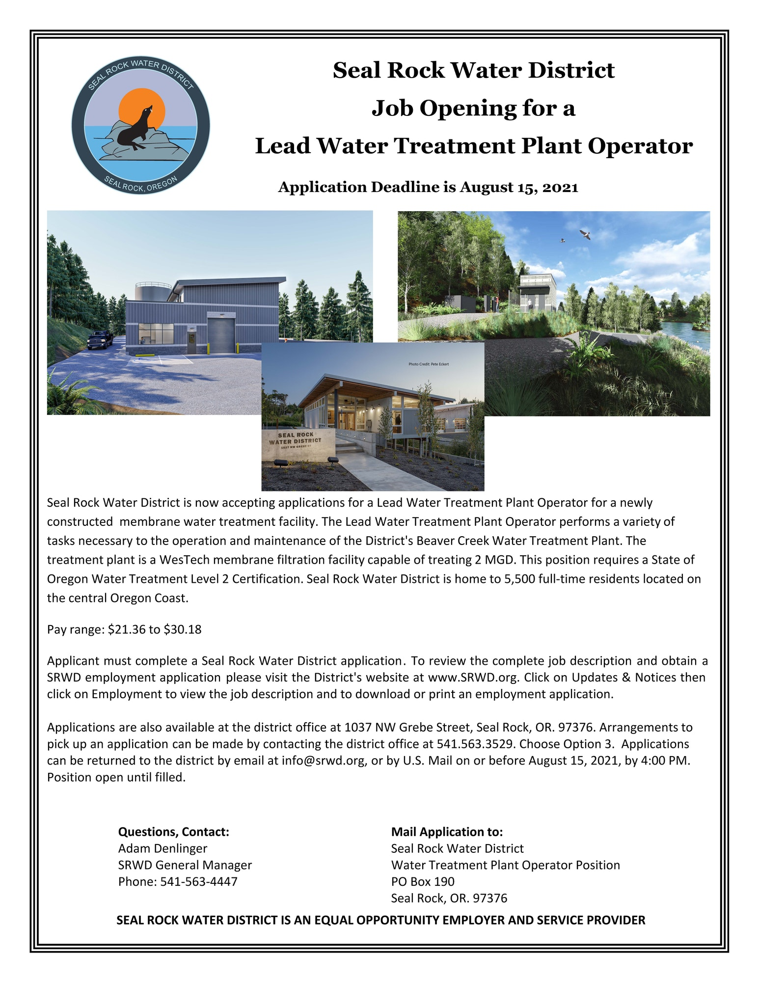Lead Water Treatment Plant Operator job opportunity flyer