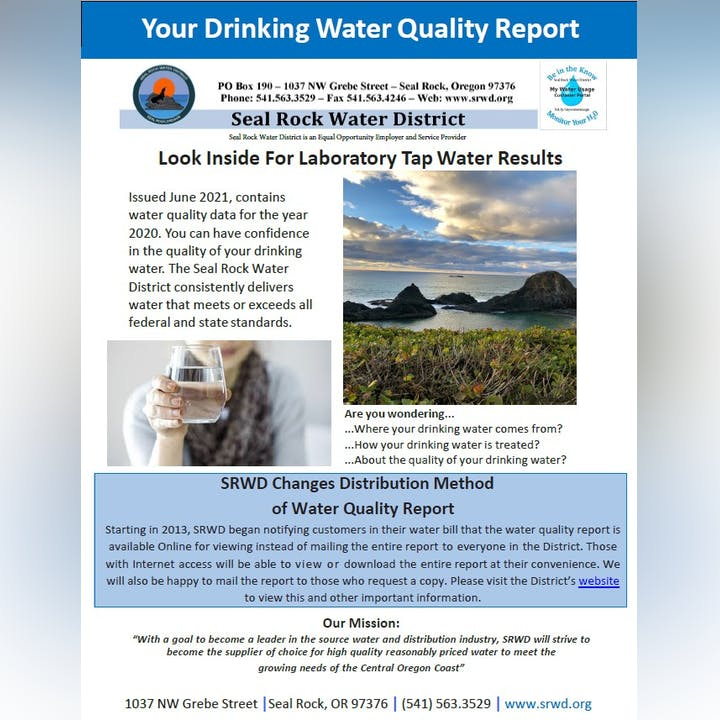 Picture of screenshot of front page of Water Quality Report