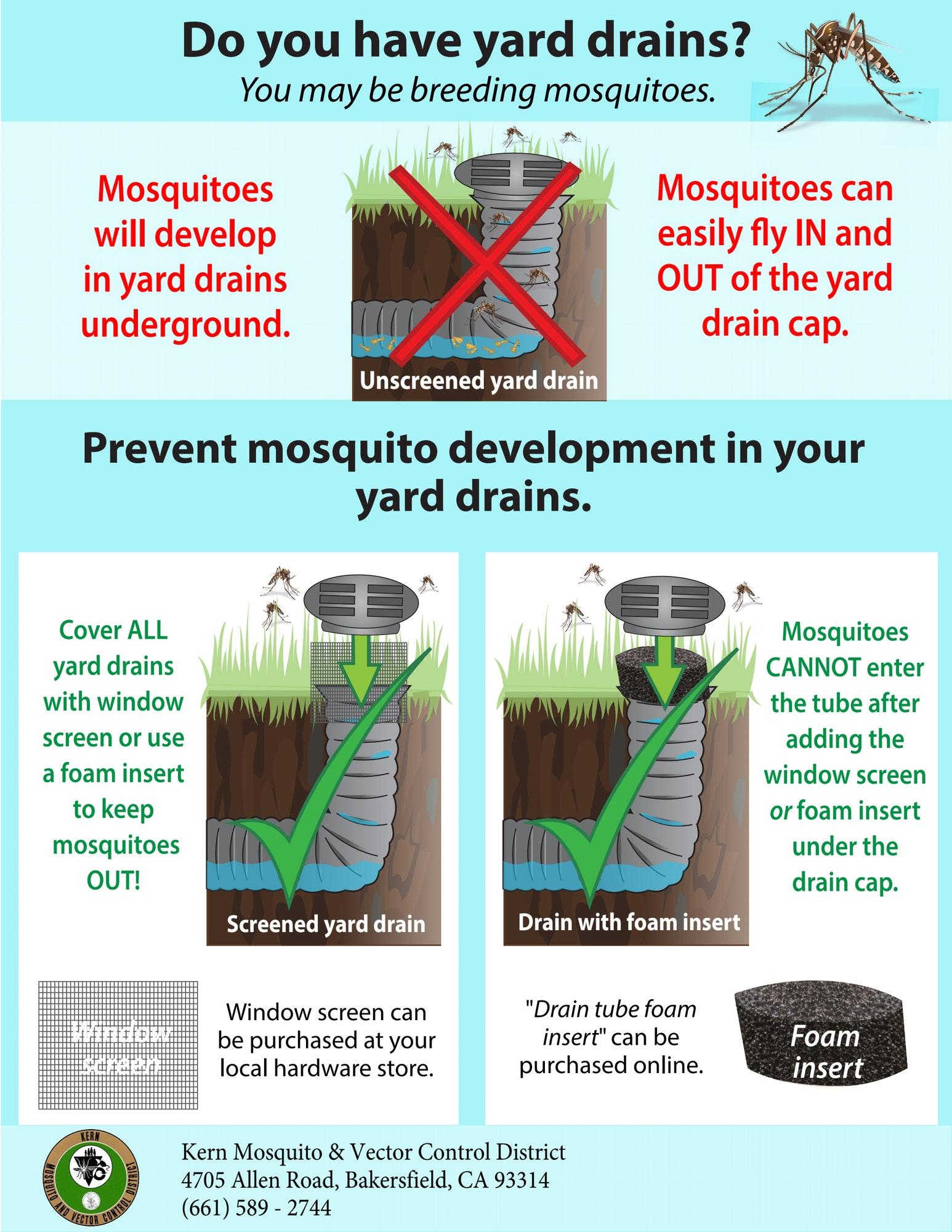 yard drain screened to prevent mosquito breeding
