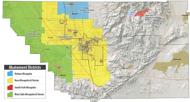 Map of mosquito districts in Kern County