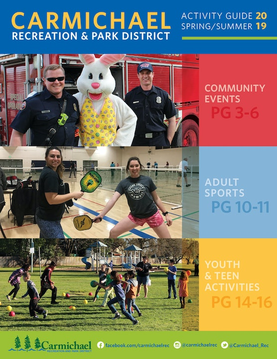 Two firefighters posing with the Bunny at the Annual Egg Hunt. Two pickleball players on the court, children playing ball in a grassy field