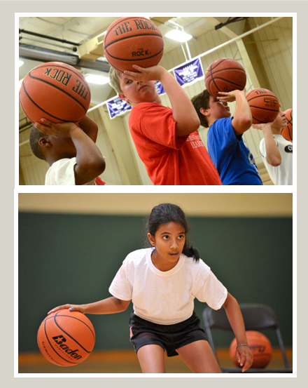 Elementary Basketball Leagues: Boys with balls on their shooting hand, girl bouncing two balls
