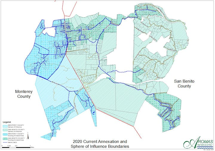 Map of Aromas Water District's Sphere of Influence and Annexations