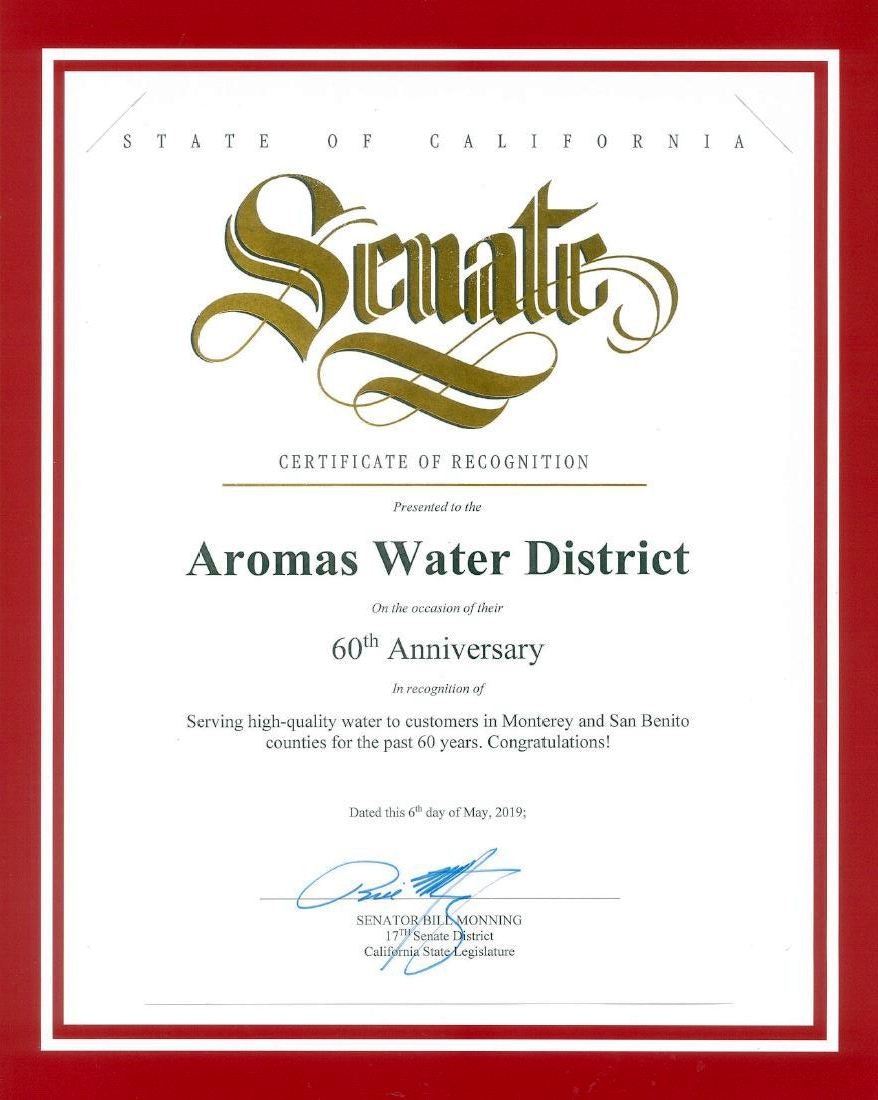 The State of California Senate Certificate of Recognition
