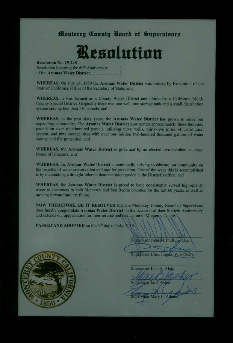 Monterey County Board of Supervisors - Resolution No. 19-248