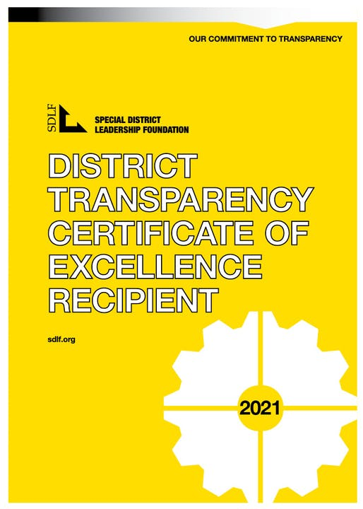 District Transparency Certificate of Excellence 2021