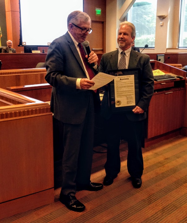July 9, 2019; General Manager Robert Johnson received a Resolution celebrating Aromas Water's 60th Anniversary from Supervisor Phillips of the Monterey County Board of Supervisors.