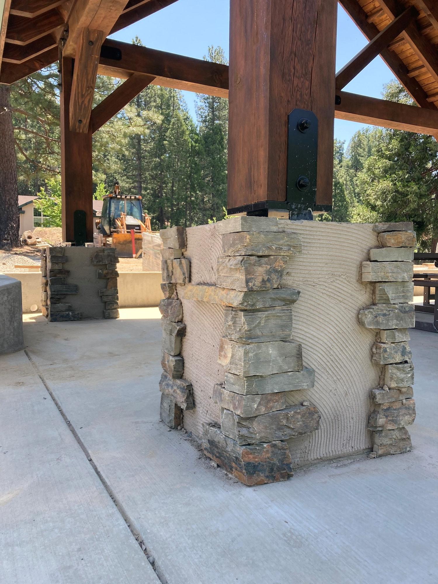 May contain: patio, flagstone, porch, pergola, and slate